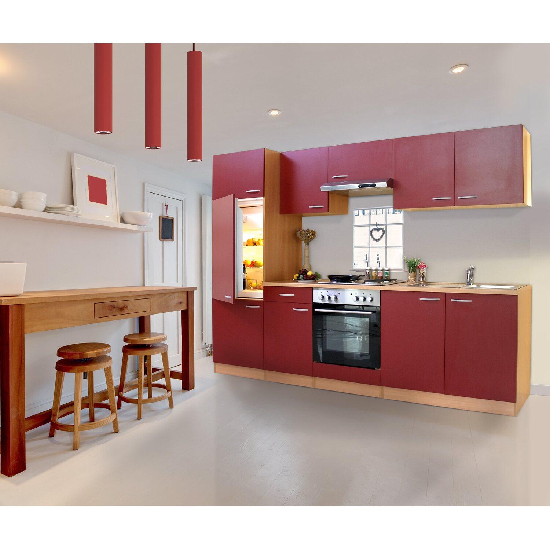 Respekta Küchenzeile ohne E-Geräte LBKB270BR 270 cm Rot-Buche ...