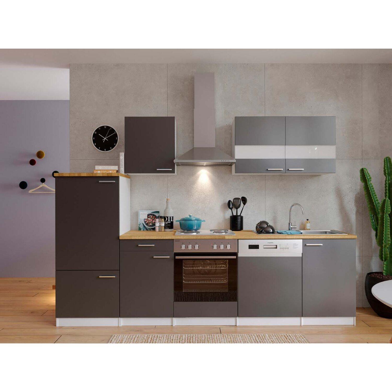 Respekta Küchenzeile ohne E-Geräte LBKB280WG 280 cm Grau-Weiß ...
