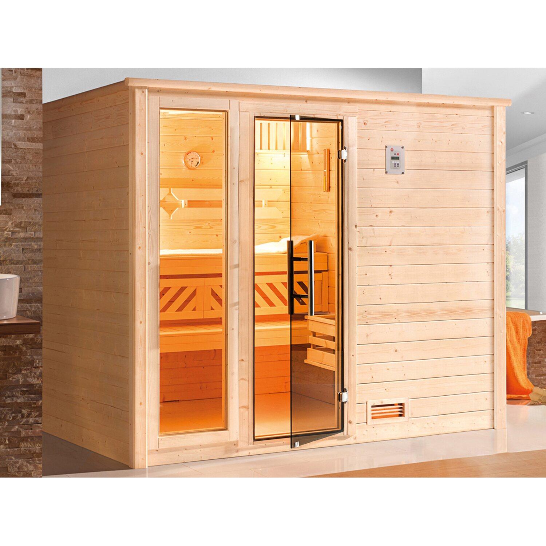 weka massivholzsauna bergen 3 glast r und fenster 248x198x203 kaufen bei obi. Black Bedroom Furniture Sets. Home Design Ideas