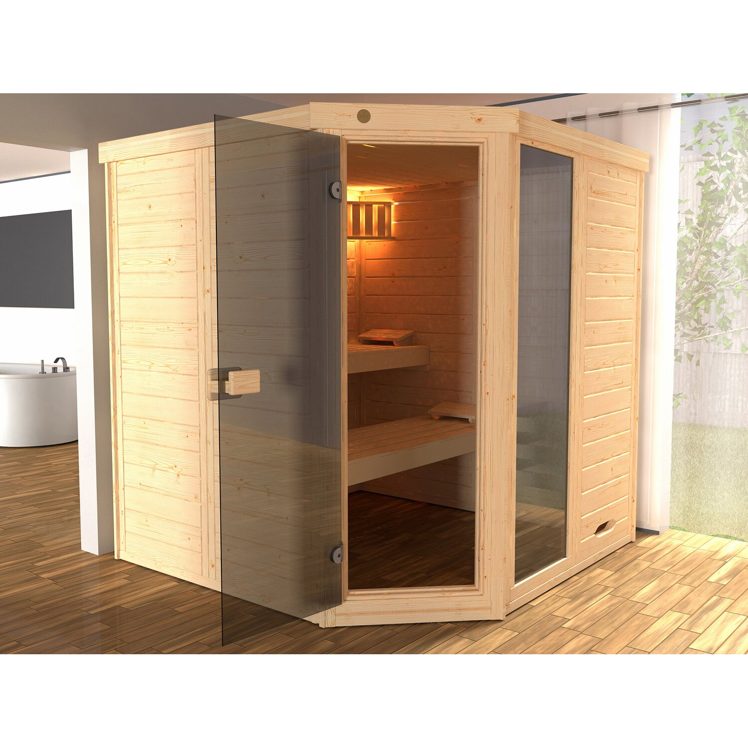 weka massivholzsauna elementsauna laukkala gr 3 glast r. Black Bedroom Furniture Sets. Home Design Ideas