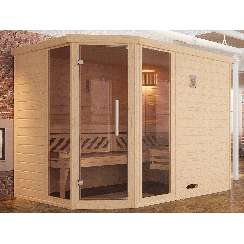 weka massivholzsauna elementsauna kemi eck glast r und 2 fenster set kaufen bei obi. Black Bedroom Furniture Sets. Home Design Ideas