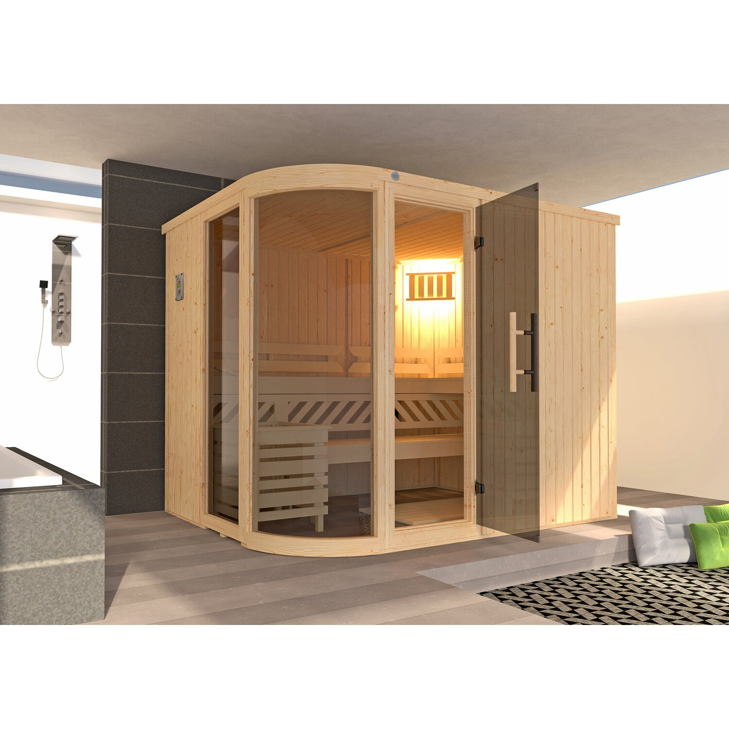 weka design sauna sara ofen steuerung 244x194x199 kaufen. Black Bedroom Furniture Sets. Home Design Ideas