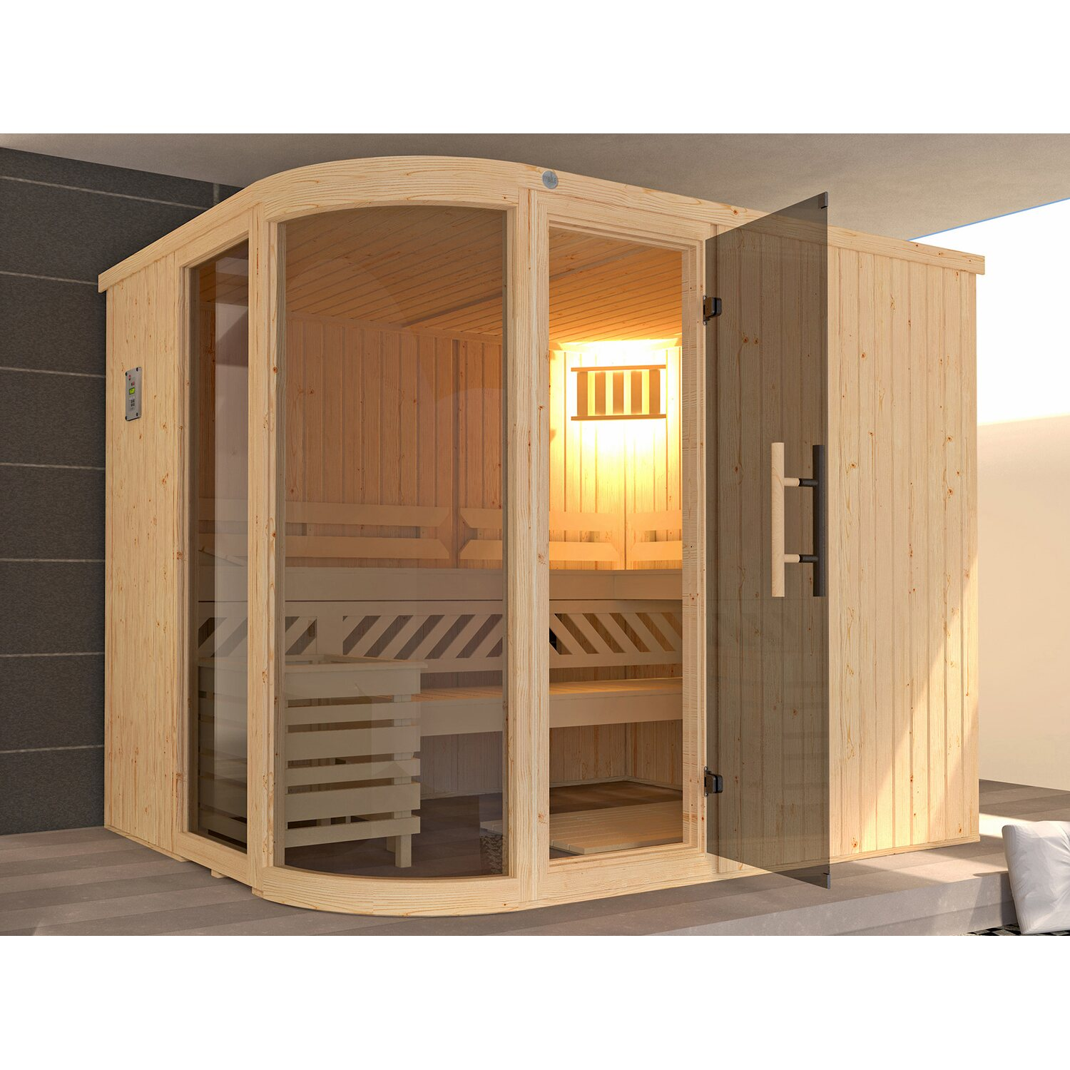 weka design sauna sara bios 244x194x199 kaufen bei obi. Black Bedroom Furniture Sets. Home Design Ideas