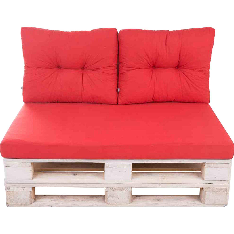 Palettenkissen Set Rot 3 Tlg Mit Flockenfullung Und Schaumplatte