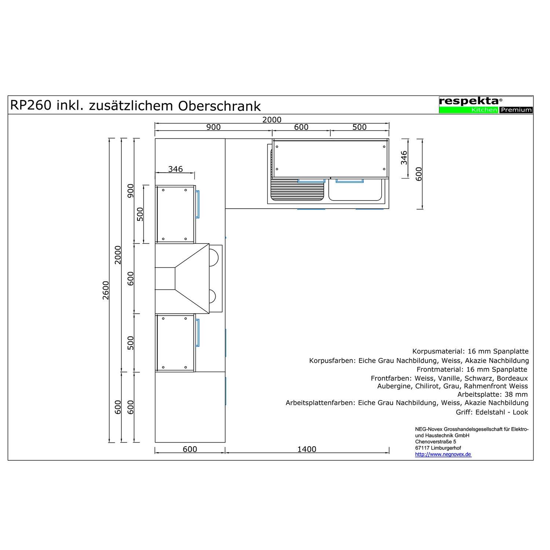Respekta Premium Winkelküche RP260WSCOS 260 x 200 cm Schwarz-Weiß ... | {Winkelküche kaufen 20}