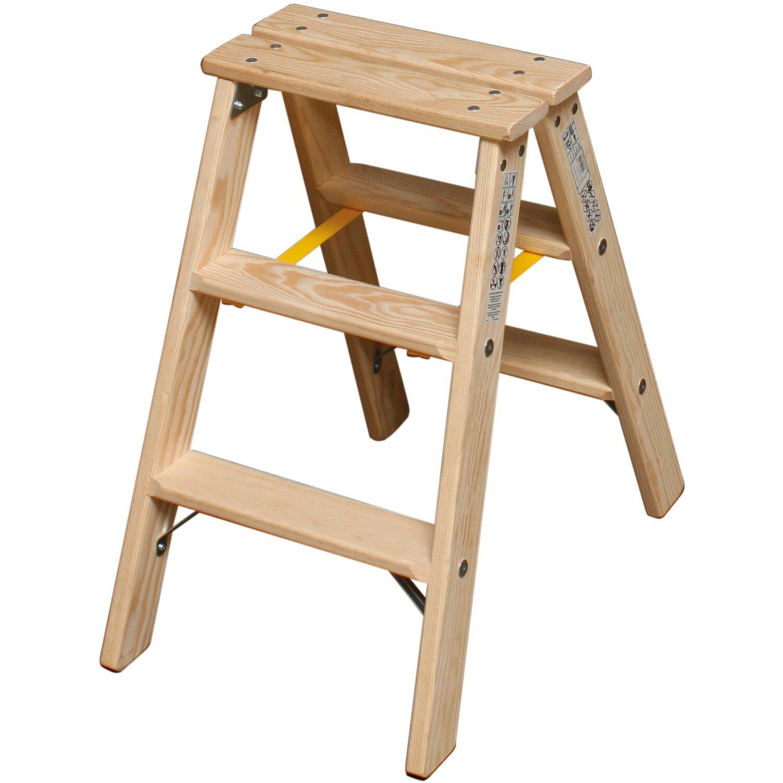 Krause Stabilo Stufen-Doppel-Leiter Holz 2 x 3 Stufen kaufen bei OBI