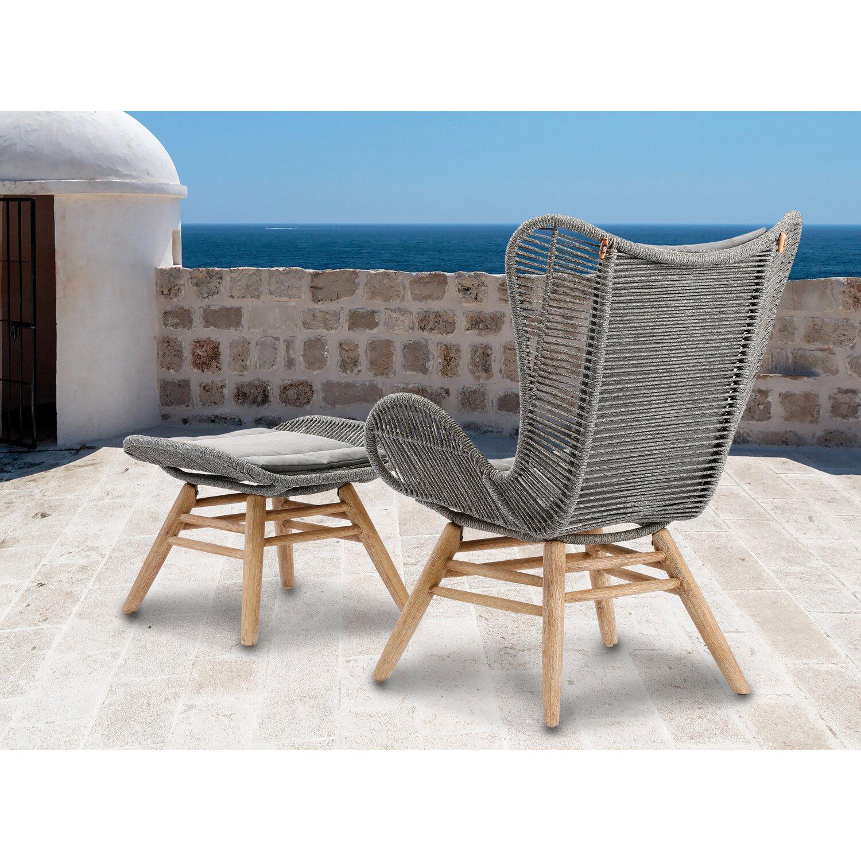 Relax Lounge Sessel Asmara Grandis-Grau mit Hocker