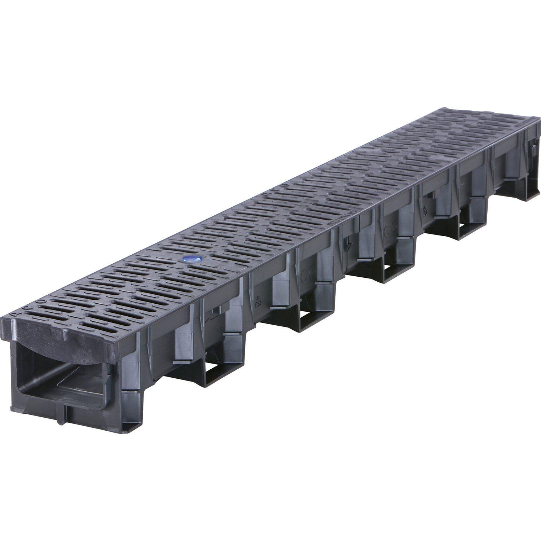 Zubehör 1-15m Entwässerungsrinne Einlaufkasten Set Stegrost Kunststoff Inkl
