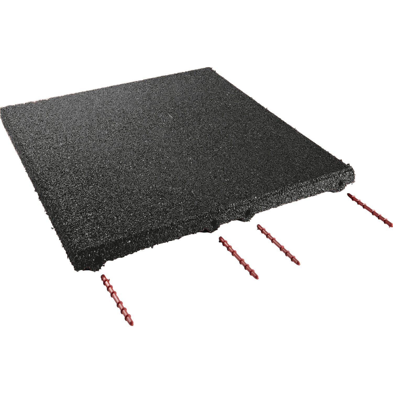 Sonstige Fallschutzplatte/ElastikmatteSchwarz 50 cm x 50 cm x 3 cm