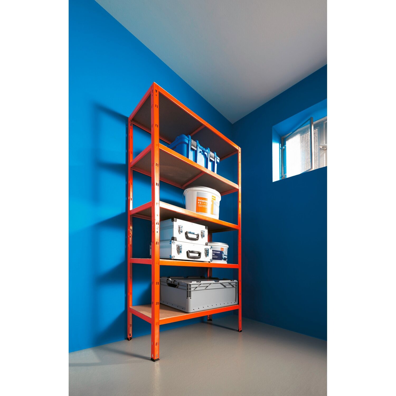 metall schwerlast steckregal orange 180 cm x 90 cm x 40 cm kaufen bei obi. Black Bedroom Furniture Sets. Home Design Ideas