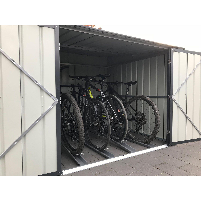 fahrradbox inkl 4 fahrradhalter anthrazit kaufen bei obi. Black Bedroom Furniture Sets. Home Design Ideas