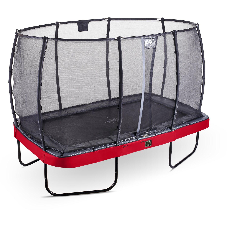 Exit Trampolin Elegant Premium Eckig 244 x 427 cm mit Sicherheitsnetz Deluxe Rot | Kinderzimmer > Spielzeuge > Trampoline | Rot | Exit Toys