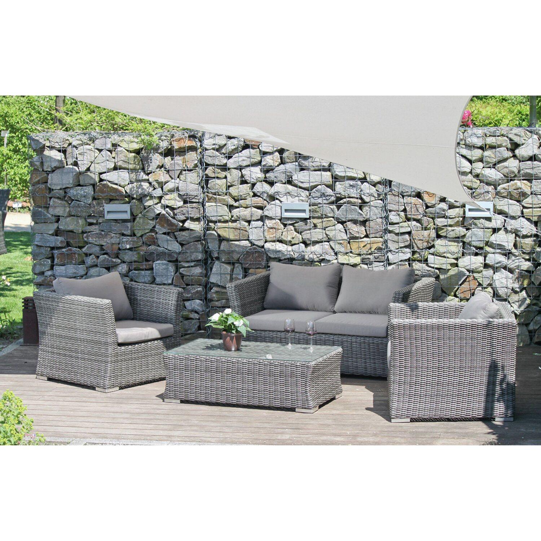 Gartenmöbel set lounge grau  grau-rattan-polyrattan- Gartenmöbel-Set online kaufen | Möbel ...