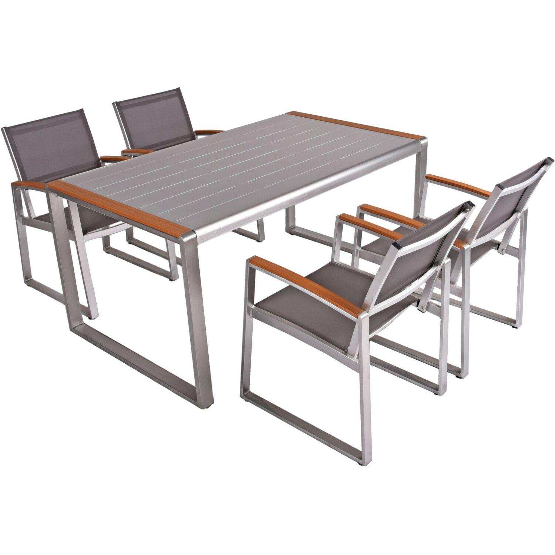 Garden Pleasure Tischgruppe Ava 5-tlg. Grau kaufen bei OBI