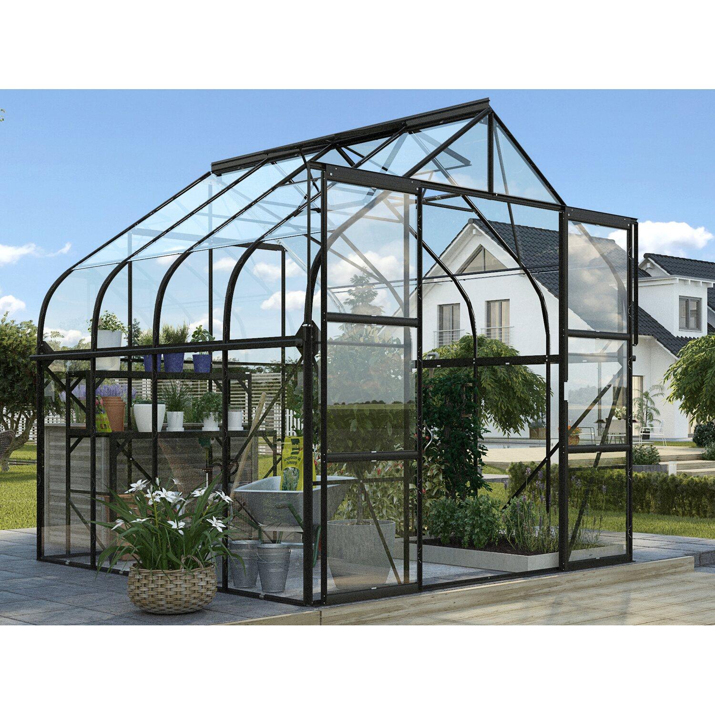 Vitavia Gewächshaus-Set Diana 6700 ESG Schwarz inkl. Fundament, Tisch und Regal | Garten > Gewächshäuser | Vitavia