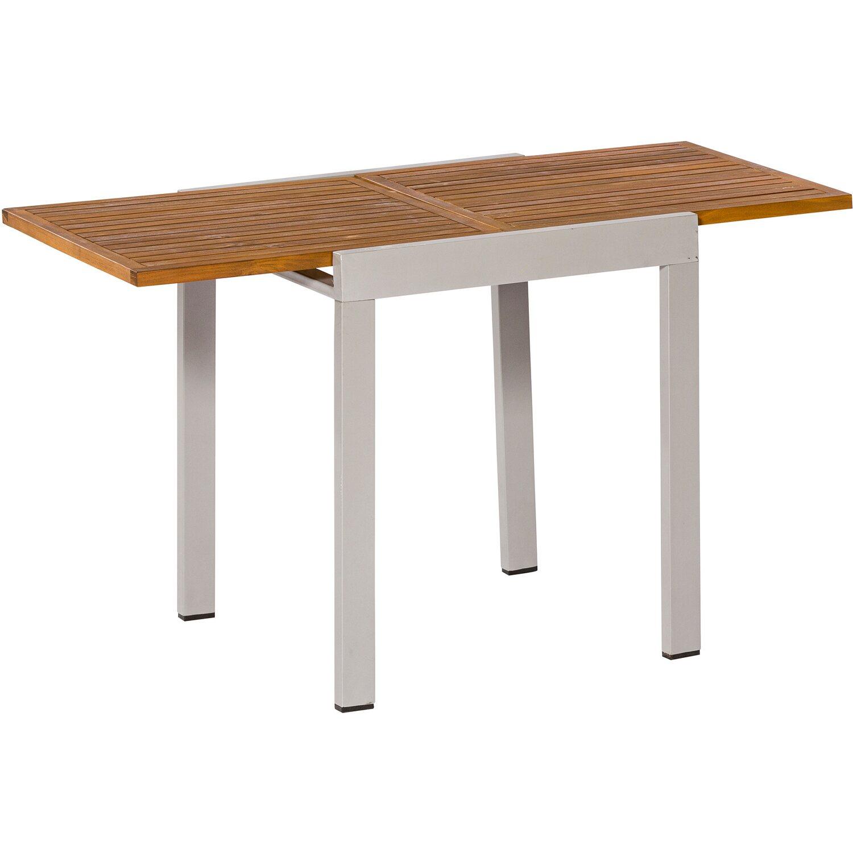 balkontisch 65 130 cm x 65 cm ausziehbar silber mit akazientischplatte kaufen bei obi. Black Bedroom Furniture Sets. Home Design Ideas