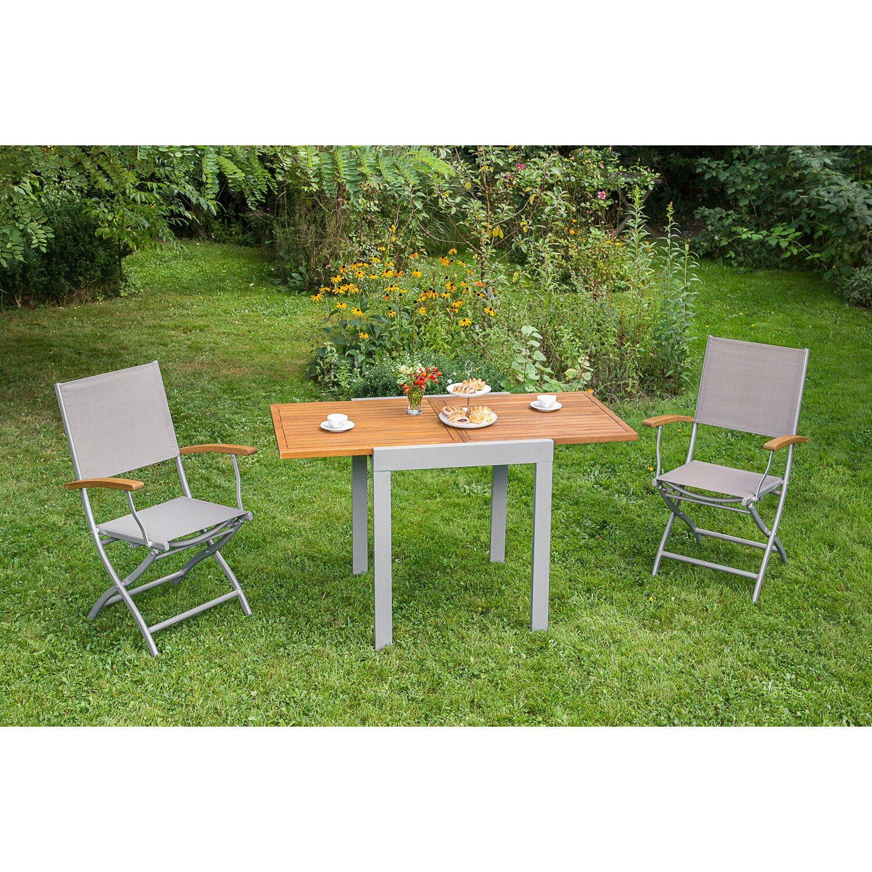 Gartenmöbel-Set Naxos 3-tlg. Grau inkl. Klappsessel 61 cm x 53 cm ...