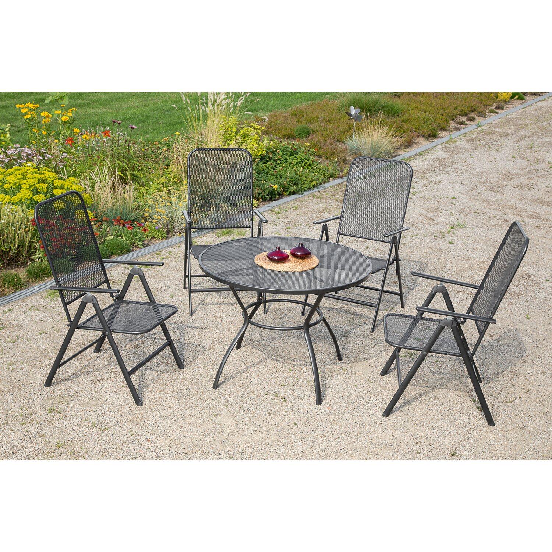 Gartenmöbel-Set Paxos 5-tlg. Graphit inkl. rundem Tisch kaufen bei OBI