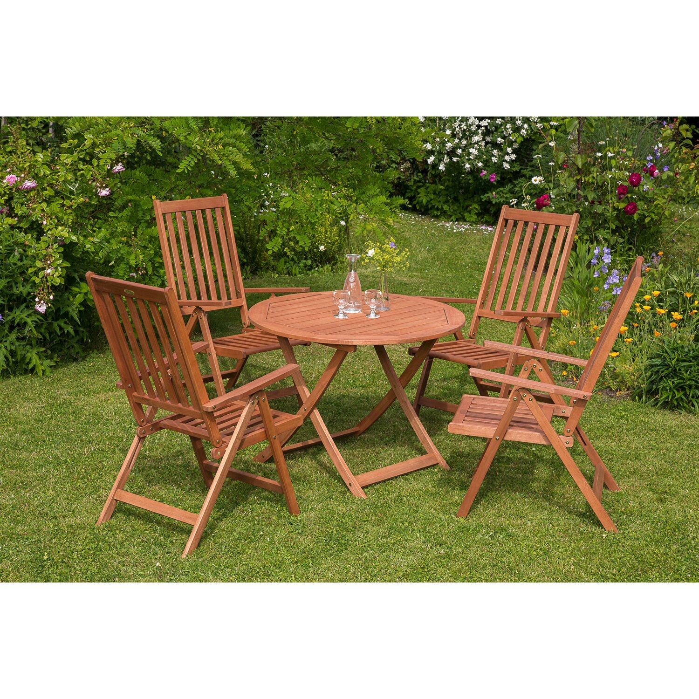 Gartenmöbel Set Vitoria 5 Tlg Braun Inkl Rundem Tisch Kaufen Bei Obi