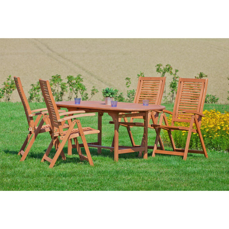 Tisch 120 X 100.Gartenmöbel Set Cordoba 5 Tlg Braun Inkl Tisch 120 170 Cm X 100 Cm