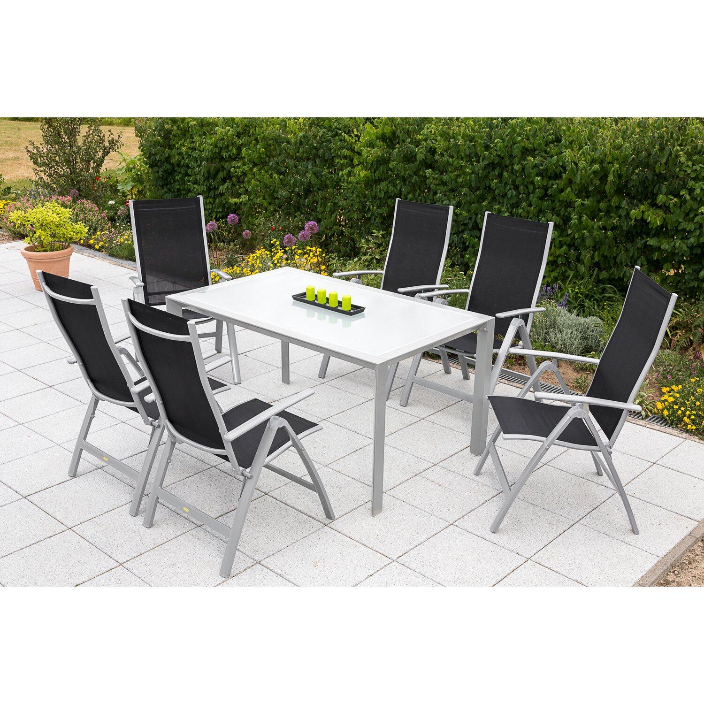 Gartenmöbel-Set Carrara 7-tlg. Schwarz inkl. Designtisch kaufen bei OBI