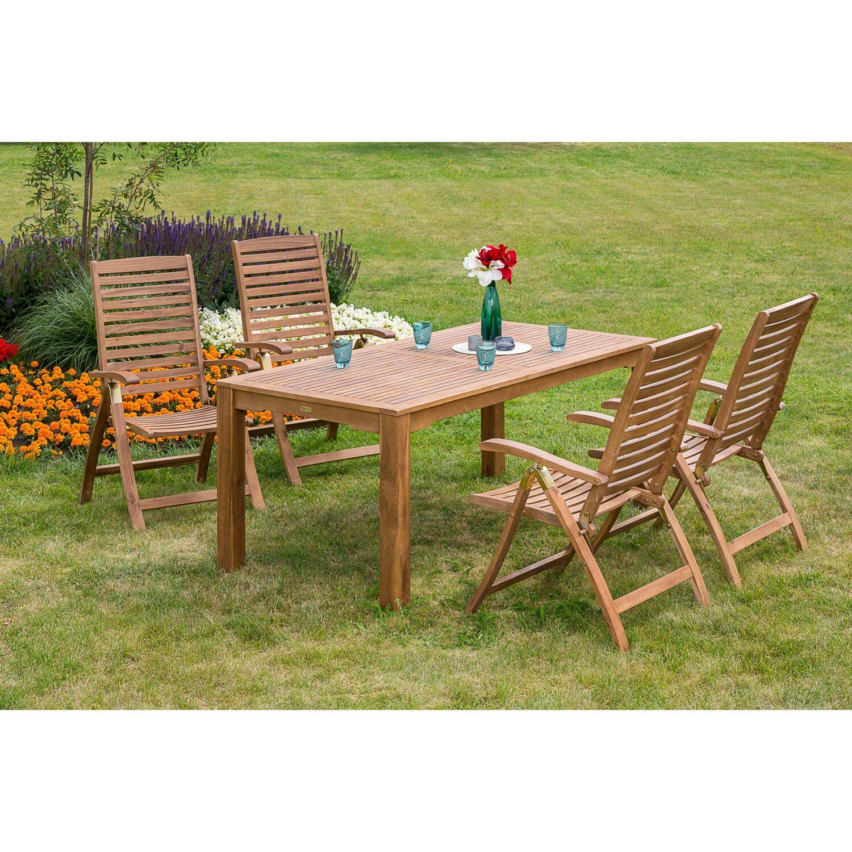 Gartenmöbel Set Paraiba 5 Tlg Braun Inkl Tisch 185 Cm X 90 Cm