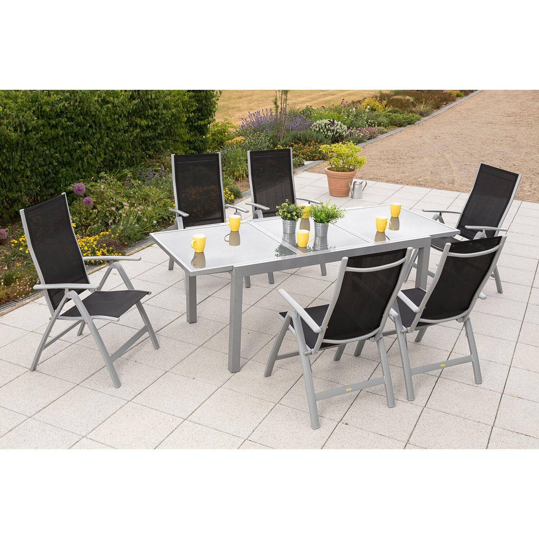 Gartenmöbel Set Carrara 7 Tlg Schwarz Inkl Tisch 160220 Cm X 90