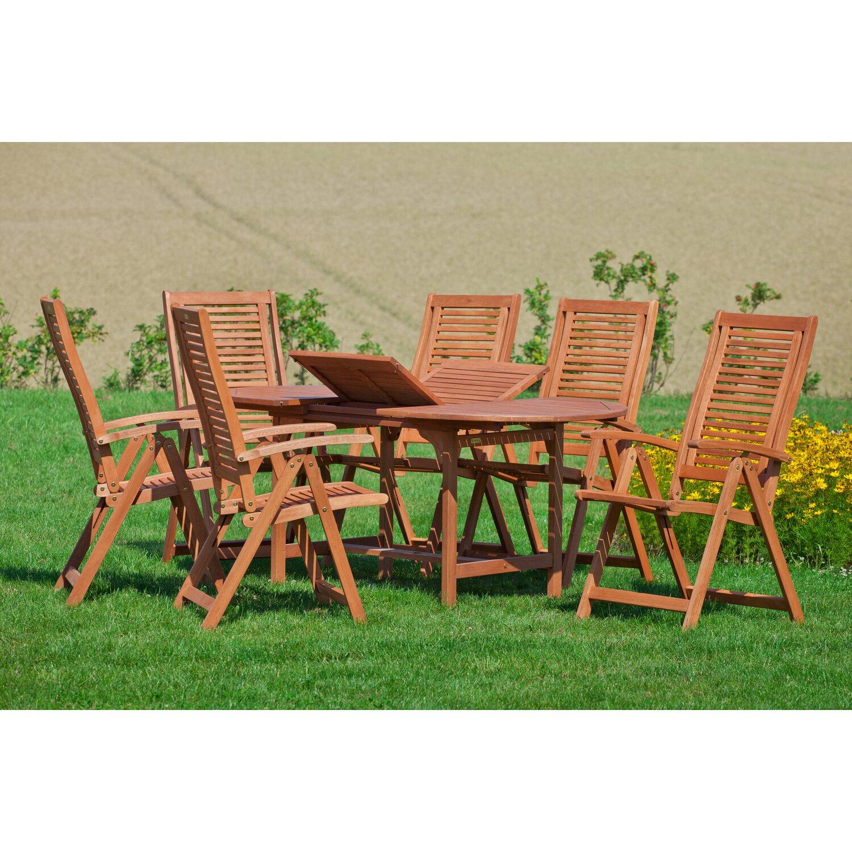 Tisch 120 X 100.Gartenmöbel Set Cordoba 7 Tlg Braun Inkl Tisch 120 170 Cm X 100 Cm