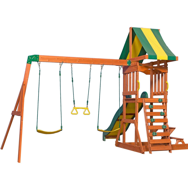 Backyard Discovery Spielturm Sunnydale mit Rutsche und Schaukel Grün/Gelb