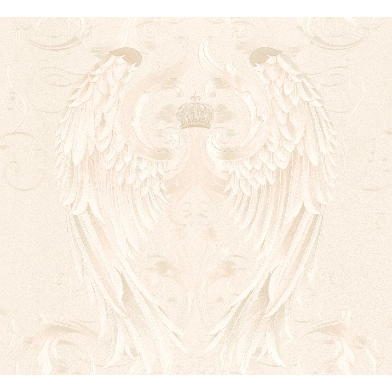 Glööckler Vliestapete Imperial Engelsflügel mit Krone Beige | Dekoration > Figuren und Skulpturen > Engel | Beige | Glööckler