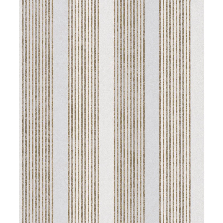 Vliestapete, Streifen gold/weiß