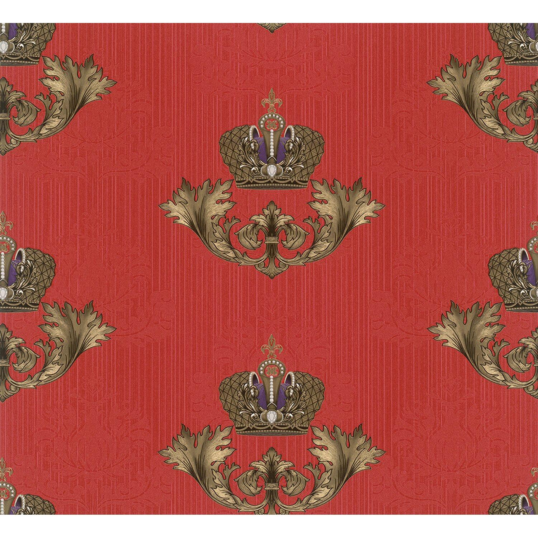 Glööckler Vliestapete Imperial Krone Blattmotiv Wappenoptik Rot-Gold | Baumarkt > Malern und Tapezieren > Tapeten | Glööckler