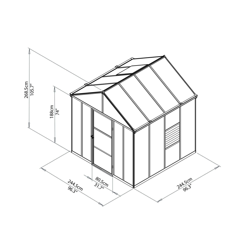 Palram Gewächshaus Glory 8x8 Grau kaufen bei OBI