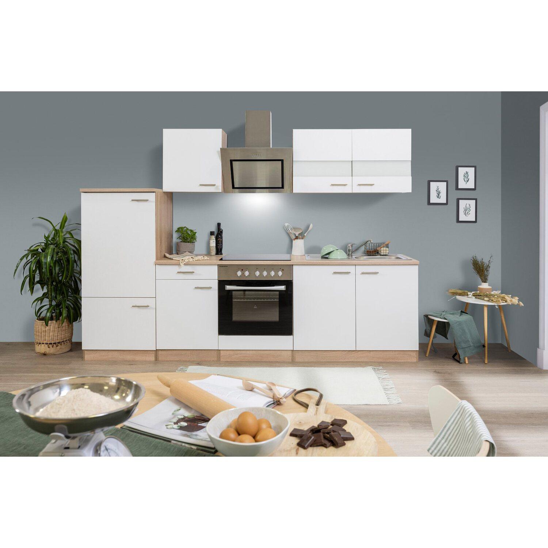 Respekta Economy Küchenblock 270 cm mit Glaskeramikkochfeld Weiß ...