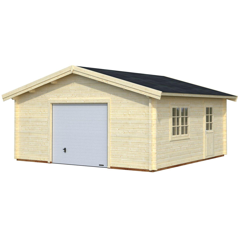 Palmako Holzgarage Roger mit Sektionaltor Natur 540 cm x 540 cm | Baumarkt > Garagen und Carports > Garagen | Natur | Holz | Palmako