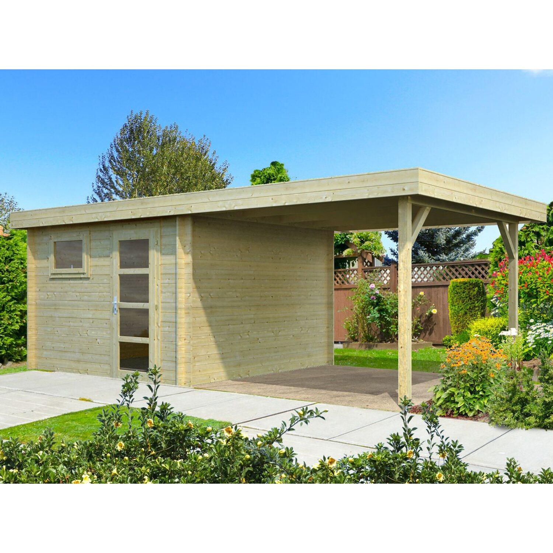 Palmako Holz-Gartenhaus/Gerätehaus Elsa Braun B x T: 587 cm x 300 cm davon 287 cm Anbaudach | Garten > Gartenhäuser | Holz - Edelstahl | Palmako