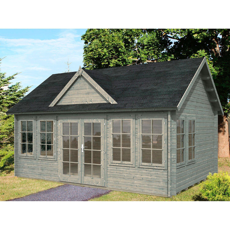 Palmako Holz Gartenhaus Claudia Grau Bxt 530 Cm X 380 Cm Inkl Fussboden Kaufen Bei Obi