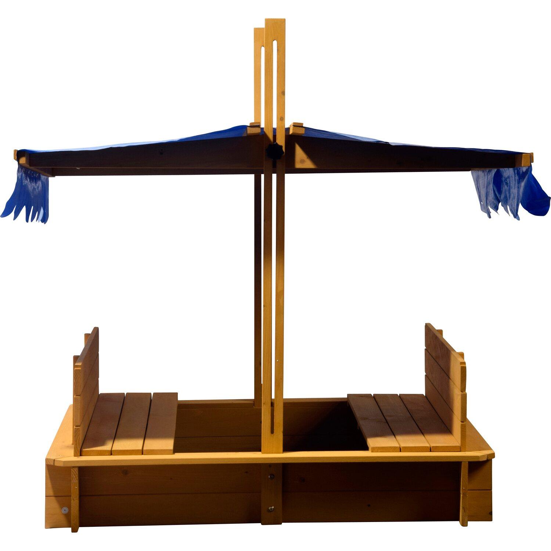 Sandkasten mit schwenkbarem Dach 120 cm x 120 cm x 120 cm | Kinderzimmer > Spielzeuge > Sandkästen | Nadelholz fsc | Dobar