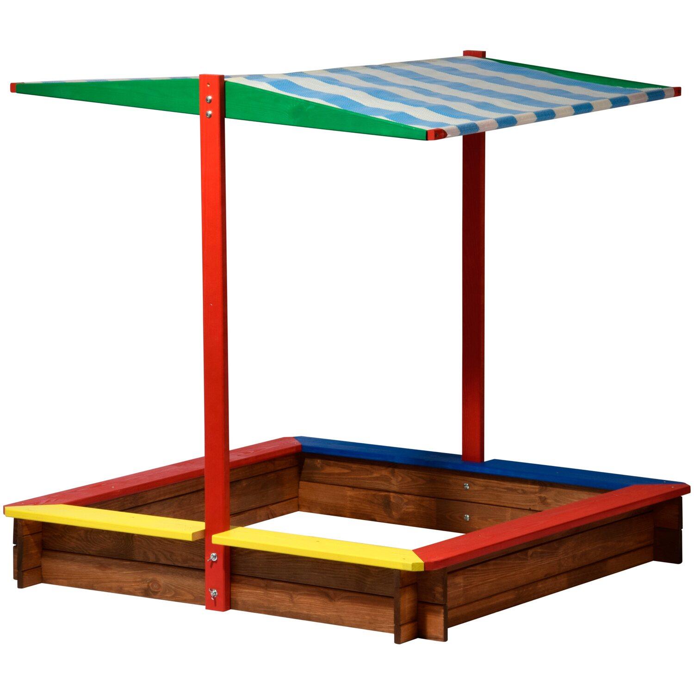 sandkasten xl holz mit dach bunt 120 cm x 120 cm x 125 cm kaufen bei obi. Black Bedroom Furniture Sets. Home Design Ideas