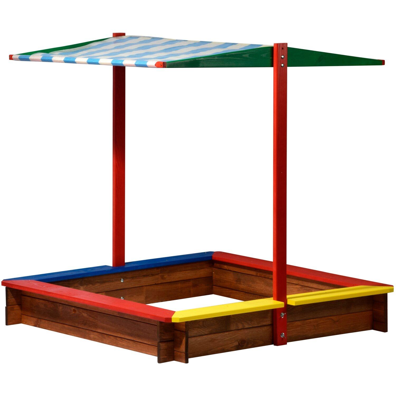 Sandkasten XL Holz mit Dach Bunt 8 cm x 8 cm x 8 cm kaufen ...