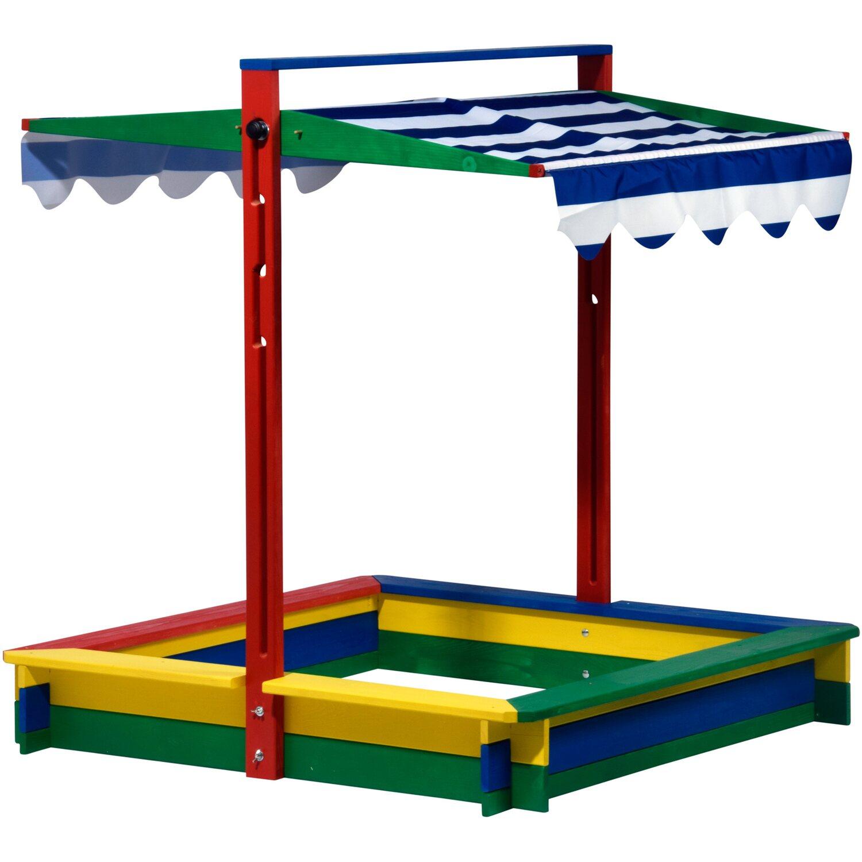 Sandkasten XL Holz mit Dachlift Bunt 120 cm x 120 cm x 120 cm   Kinderzimmer > Spielzeuge > Sandkästen   Dobar