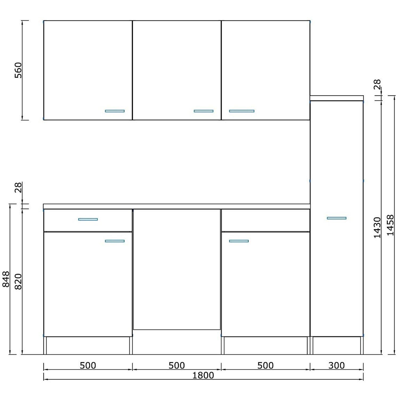 Respekta Küchenzeile KB180ESWMI 180 cm Weiß-Eiche Sägeräu Nachbildung