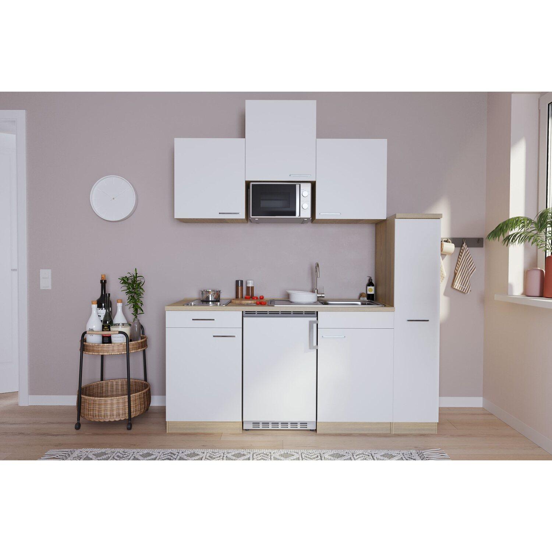 Fabulous Respekta Küchenzeile KB180ESWMIC 180 cm Weiß-Eiche Sägeräu  CP19