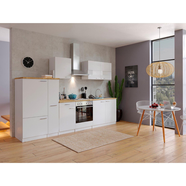 Respekta Küchenzeile KB300WW 300 cm Weiß