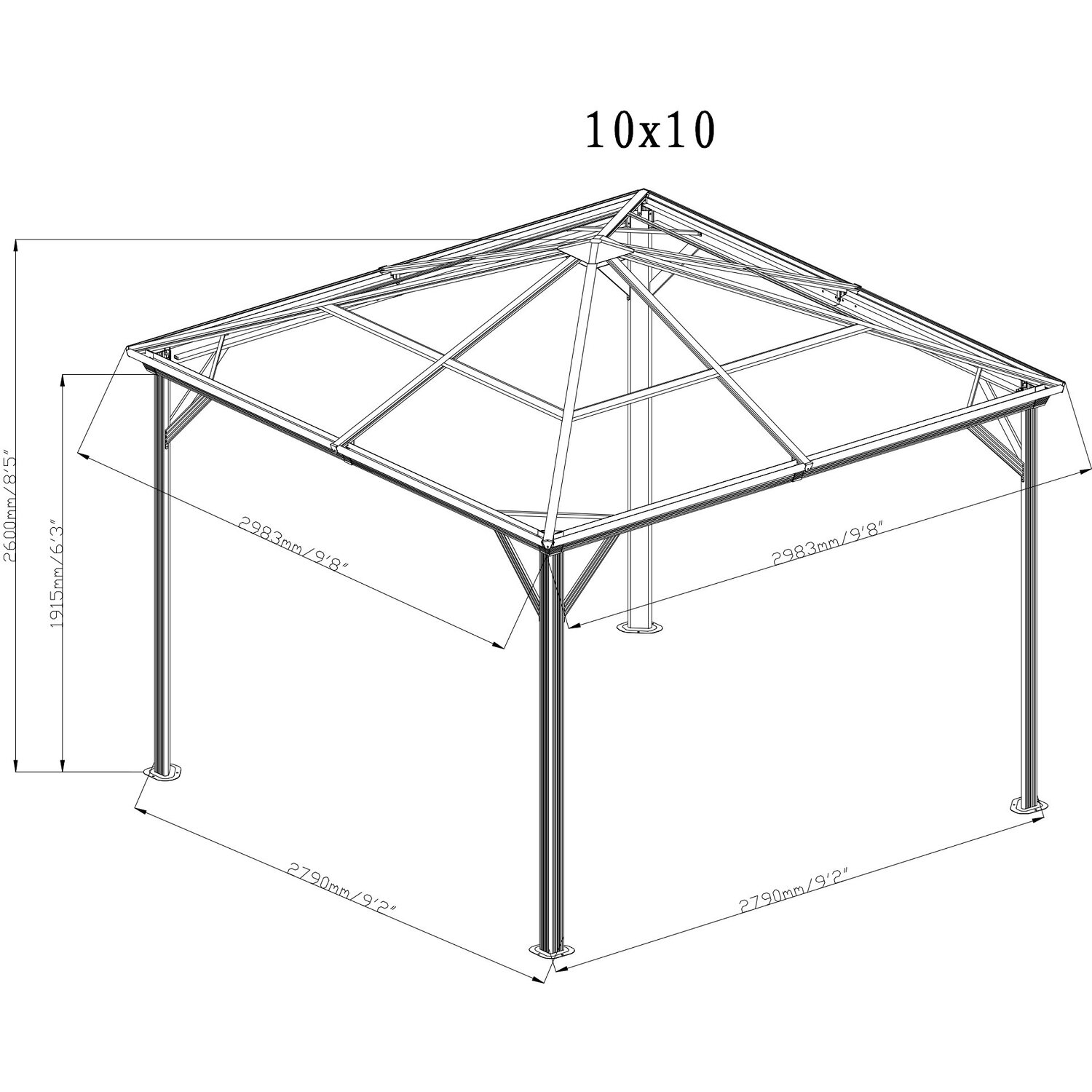 sojag aluminium pavillon verona 10 x 10 anthrazit 298 cm x 298 cm x 261 cm kaufen bei obi. Black Bedroom Furniture Sets. Home Design Ideas