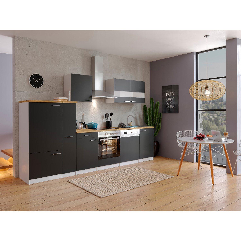 respekta k chenzeile kb310wsc 310 cm schwarz wei kaufen bei obi. Black Bedroom Furniture Sets. Home Design Ideas