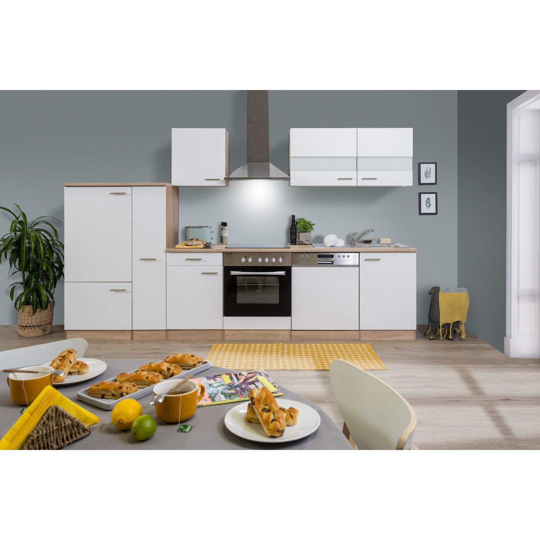 Respekta Küchenzeile KB310ESWC Weiß-Eiche Sägerau Nachbildung