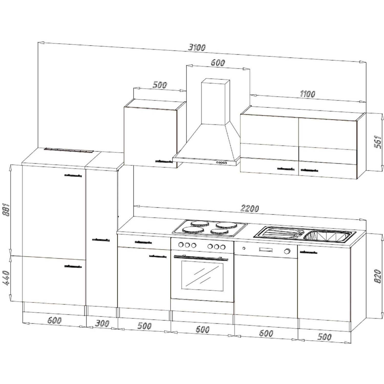 respekta k chenzeile kb310essc 310 cm schwarz eiche s gerau nachbildung kaufen bei obi. Black Bedroom Furniture Sets. Home Design Ideas