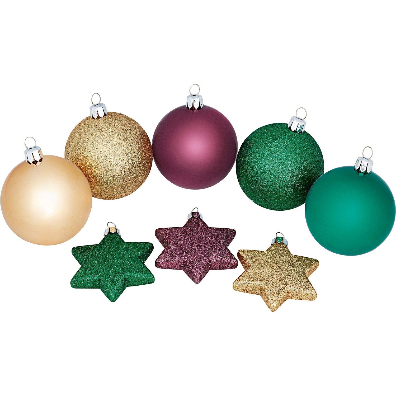 weihnachtskugel set 50 teilig 3 farbig kaufen bei obi. Black Bedroom Furniture Sets. Home Design Ideas