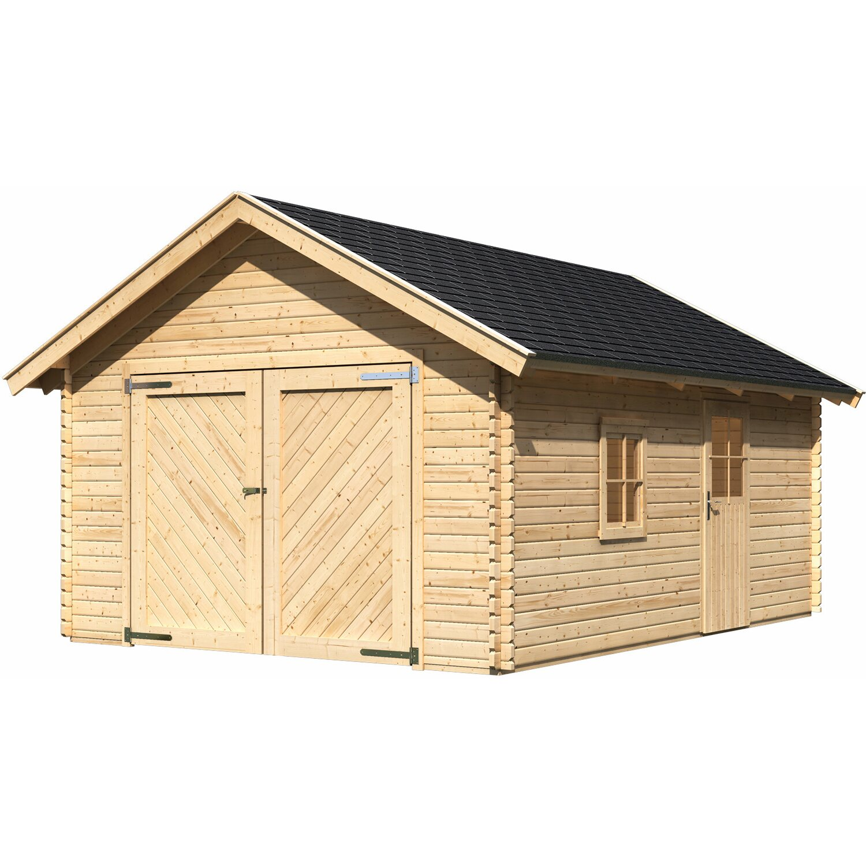 Blockbohlen Garage 40 Satteldach 387 cm x 537 cm | Baumarkt > Garagen und Carports
